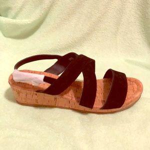 Lands end black low cork wedge sandals